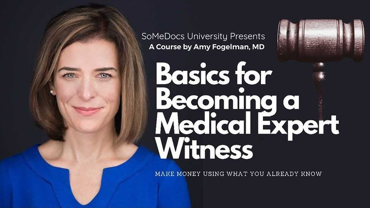 Basics for Becoming a Medical Expert Witness: Earn Money Using What you Already know [Headshot of Amy Fogelman, MD and gavel]